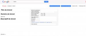 Page de recherche avancée sur Google patents